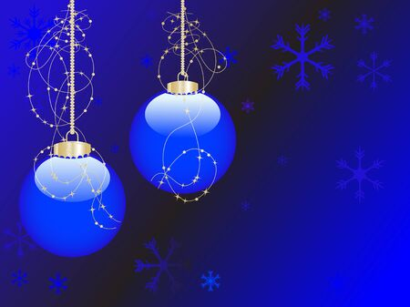 Christmas background with blue balls Vector