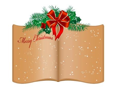 muerdago: Libro abierto de edad y las guirnaldas de Navidad