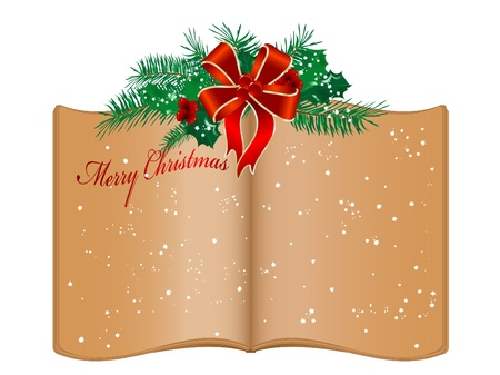 Open old book and Christmas garland Vector