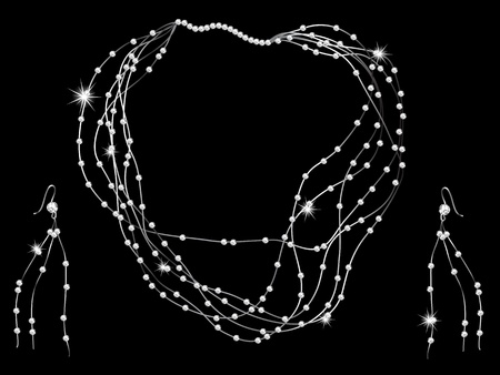 brilliancy: Diamond necklace on black background Illustration