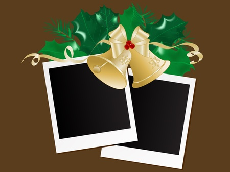 Photo frames with garland and bells Vector
