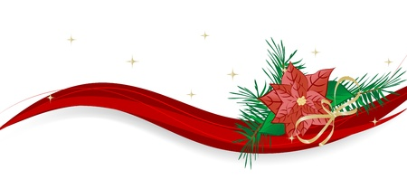 Abstract background with red poinsettia