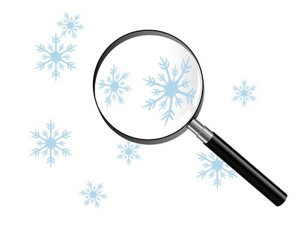 Snowflakes under the magnifiyng glass Stock Vector - 11189986