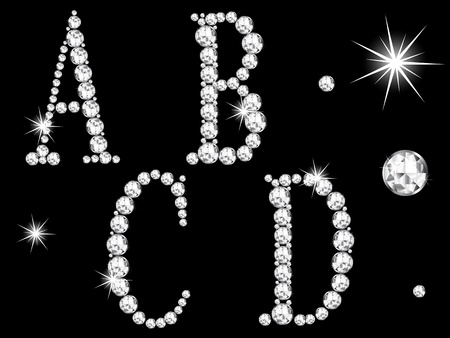glittery: Diamond letters on black background