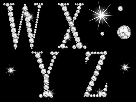 Diamond letters on black background Vector