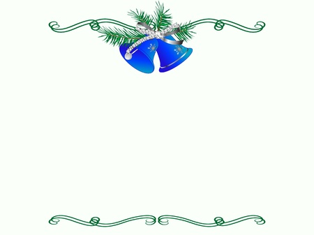 Christmas border with two blue bells Vector