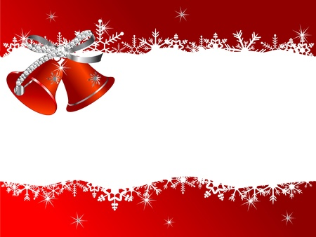Abstract Christmas background with red bells Vector