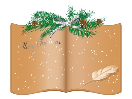 glittery: Open old book and Christmas garland Illustration