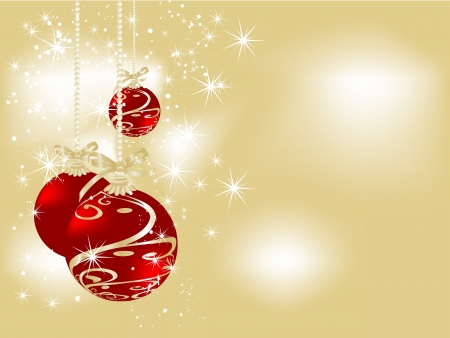Christmas red balls against golden background Vector