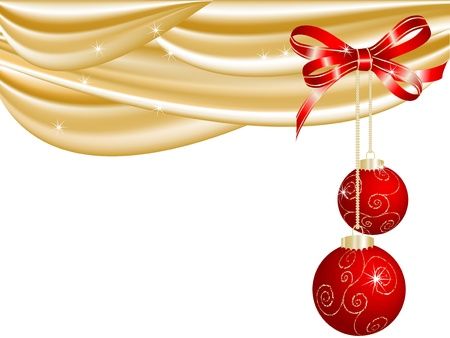 Christmas red balls and the curtain Vector