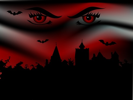 Bran castle and vampire eyes Vector