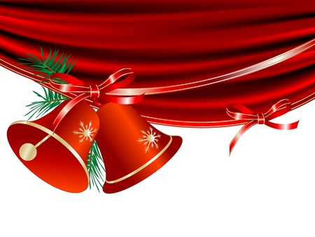 red glittery: Christmas red bells and the curtain