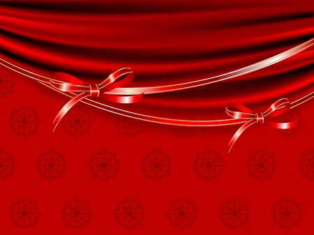 sateen: Red curtain and the ribbons