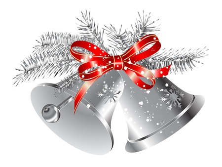 Silver snowy bells with red ribbon Illustration