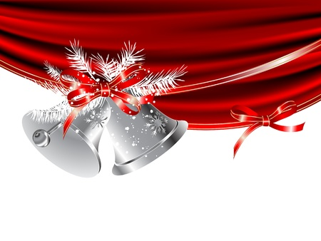 Silver snowy bells with red curtain Vector