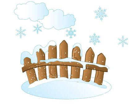 snowscape: Wooden fence, snowflakes and clouds