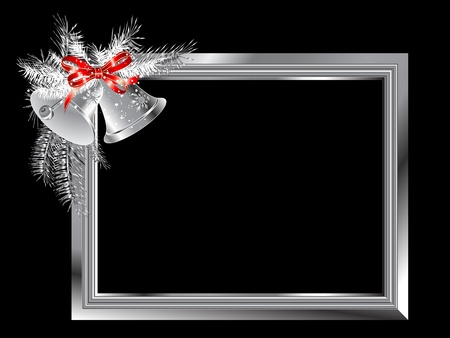silver christmas: Silver frame with bells and ribbon Illustration
