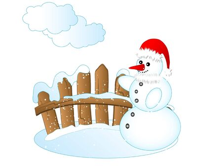 wooden hat: Wooden fence and snowman with Santas hat