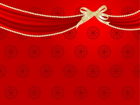 curtains: Red curtain and the ribbon
