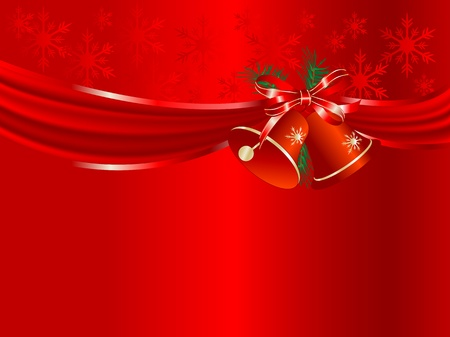 Red curtain and the bells Vector