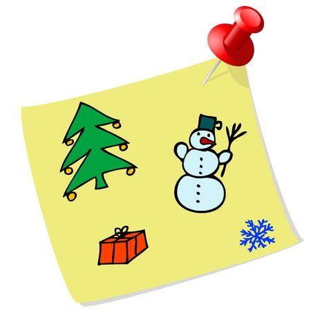 Yellow sticky label with Christmas icons Vector