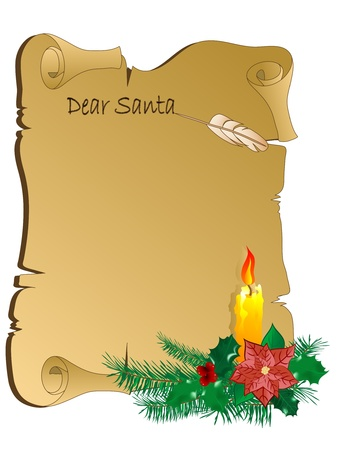 Christmas parchment with the candle
