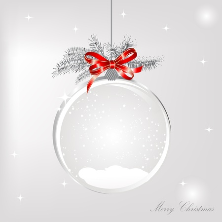 christmas snow: Empty snowglobe with red bow