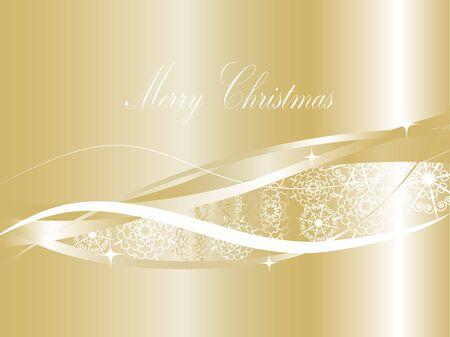 물결: 눈송이와 황금 크리스마스 배경 일러스트