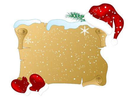 Christmas parchment with Santas hat and gloves Vector