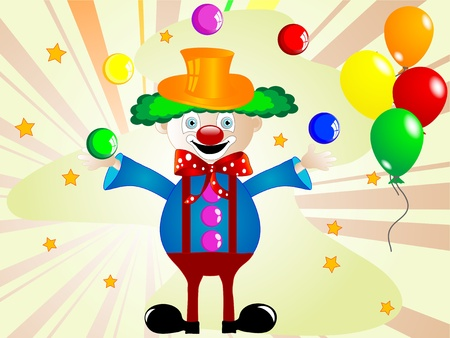 Cartoon clown with balls and balloons Vector
