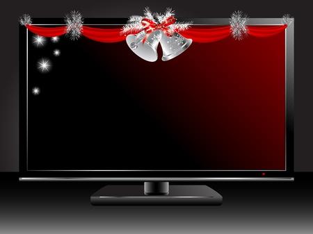 christmas garland: Plasma tv with silver Christmas garland