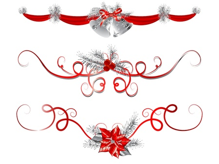 handbell: Red and silver Christmas garlands