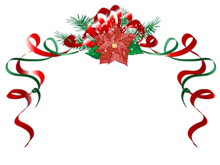 Christmas garland with red poinsettia Vector
