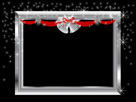 Silver frame with Christmas garland Vector