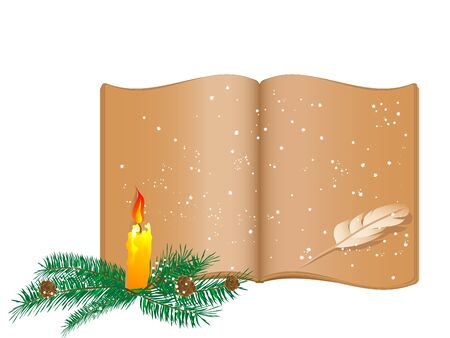 advent candles: Old snowy book and Christmas candlestick Illustration