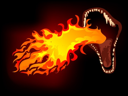 dragon fire: Dragon mouth with the fire