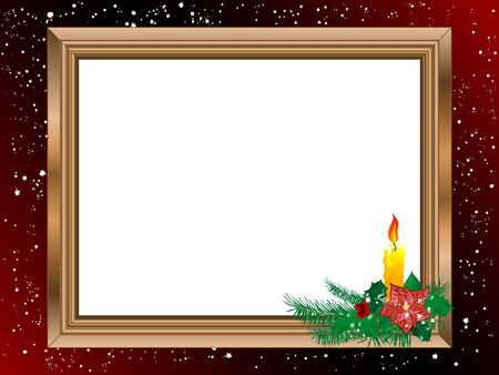 Wooden frame with Christmas candlestick Vector
