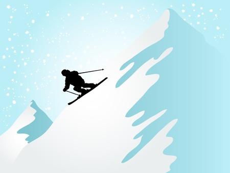 schneelandschaft: Silhouette des Skifahrers auf dem Berg