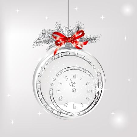 pf: New year clock in snowy globe