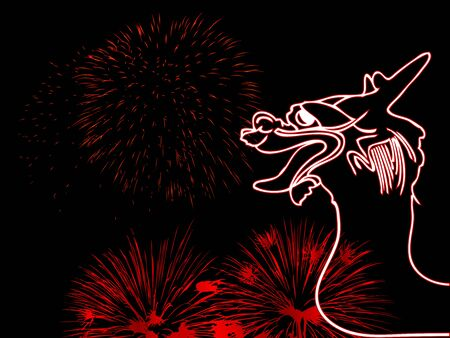 Silhouette of dragon and the fireworks Vector