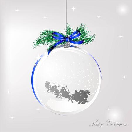 Santas sleigh in the glass ball Vector