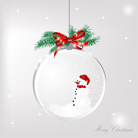 Snowman in the glass ball Vector
