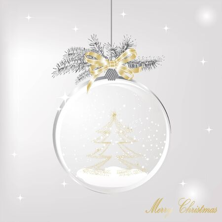 Snow ball with ribbon and christmas tree Vector