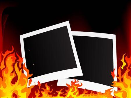 burning paper: Blank photo frames on fiery background Illustration