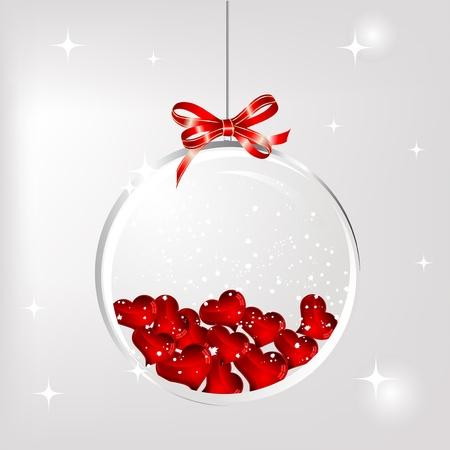 red glittery: Palla di vetro con cuori rossi