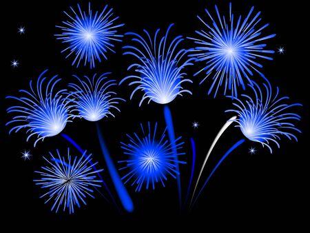 pf: Blue firework against black background