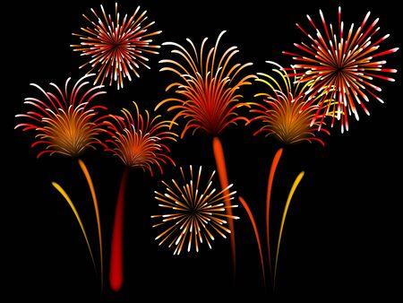 pf: Red firework against black background Illustration