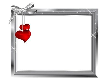 bodas de plata: Marco de plata y dos corazones de cristal Vectores