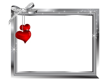 wedding frame: Silver frame and two glass hearts Illustration