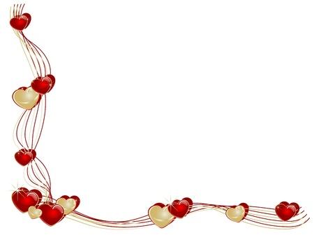 Corner mit roten und goldenen Herzen Standard-Bild - 11655000